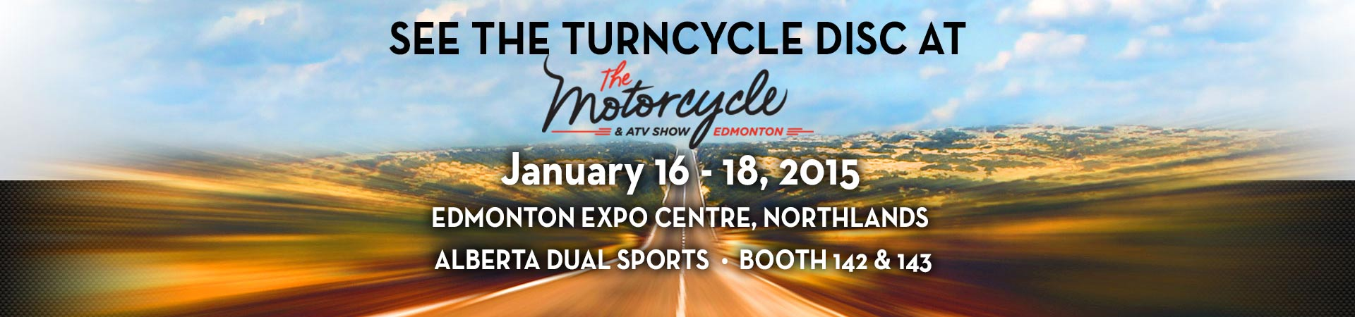 Turncycle at Edmonton Motorcycle Show banner
