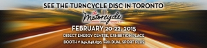 Banner for Turn Cycle at Toronto Motorcycle Show